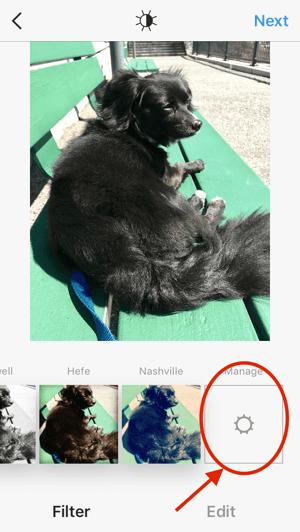 Tela de gerenciamento dos filtros do Instagram