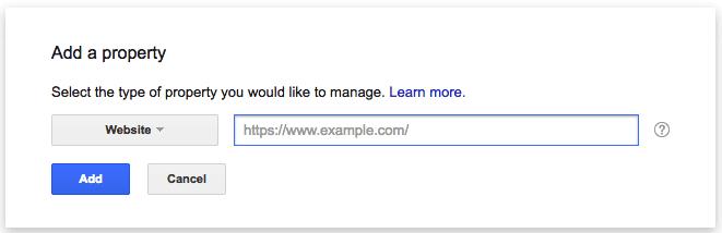 Campo em branco para adicionar um mapa do site ao Google Search Console para rastreamento de um novo site