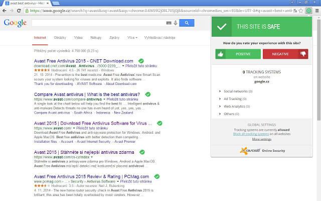 Extensão do Avast Online Security para Chrome