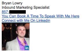 Exemplo de assinatura de e-mail profissional, por Bryan Lowry