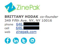 Exemplo de assinatura de e-mail profissional, por Brittany Hodak