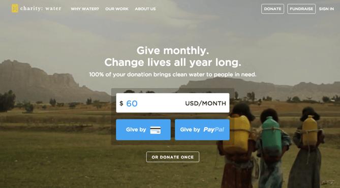 Botão de doação da charity: water