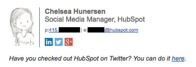 Exemplo de assinatura de e-mail profissional, por Chelsea Hunersen