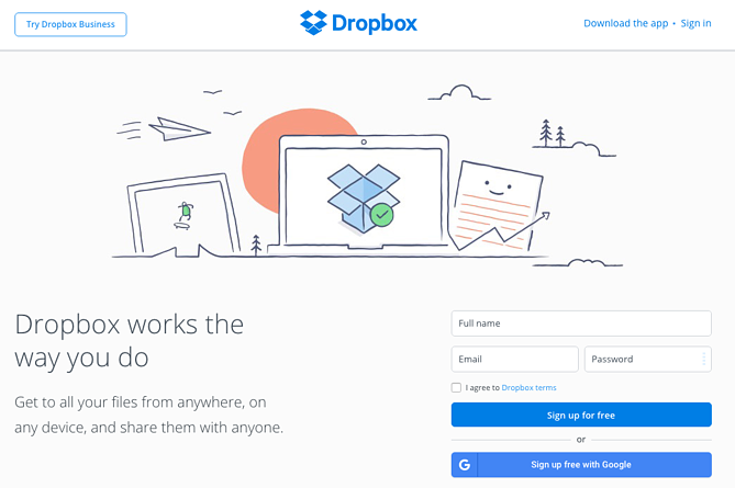 Exemplo do Dropbox