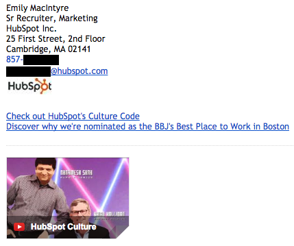 Exemplo de assinatura de e-mail profissional, por Emily MacIntyre