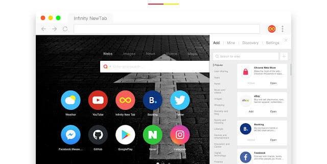 Extensão para Chrome Infinity New Tab