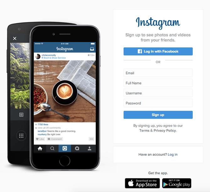 Botões de inscrição no Instagram