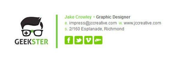 Exemplo de assinatura de e-mail profissional, por Jake Crowley