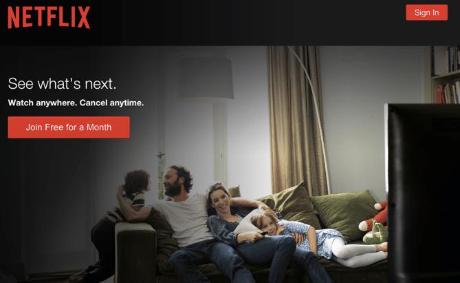 Exemplo da Netflix