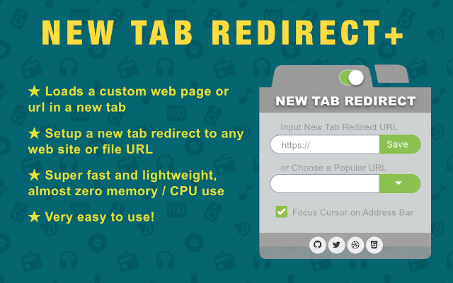new tab url redirect