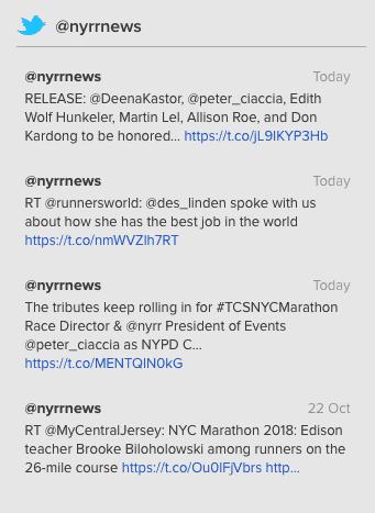 A API Tweet Timeline do Twitter retornou ao front-end do site da NYRR