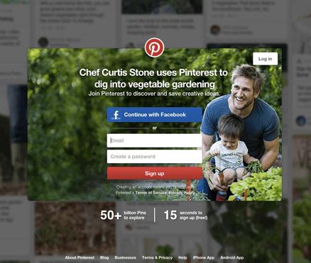 Botão de inscrição do Pinterest