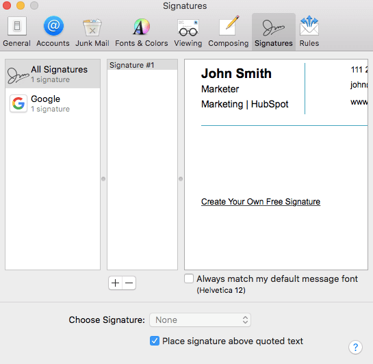 Email Signature in Apple Mail