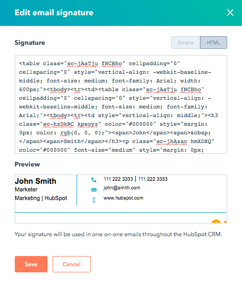 Email Signature in HubSpot
