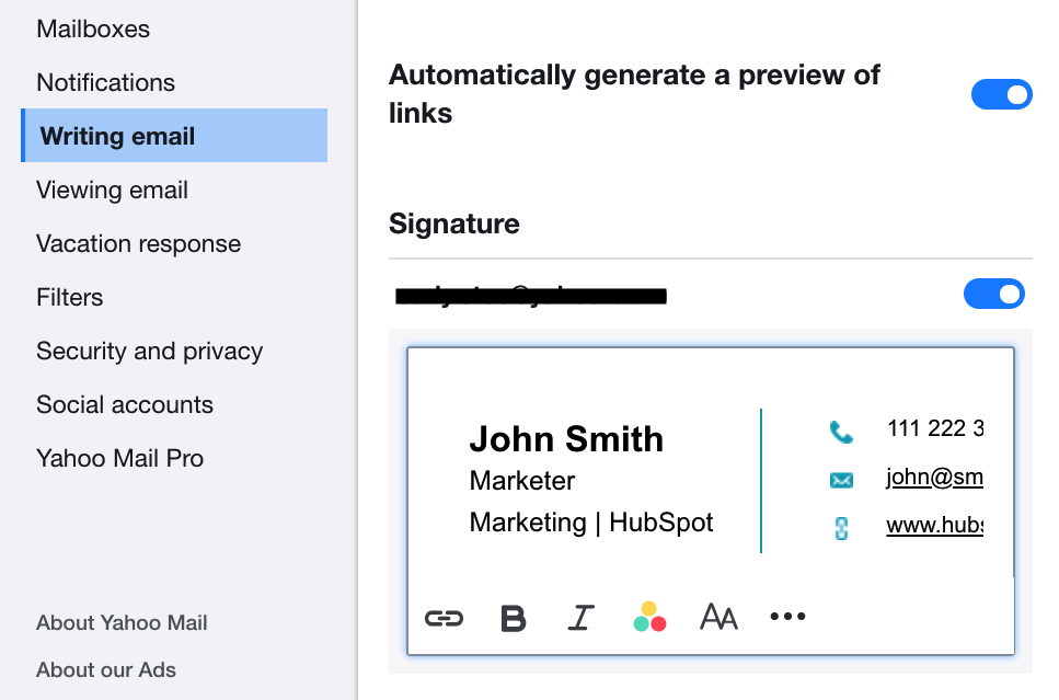 Email Signature in Yahoo