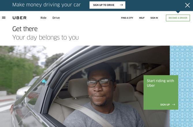 Botões duplos de CTA da Uber