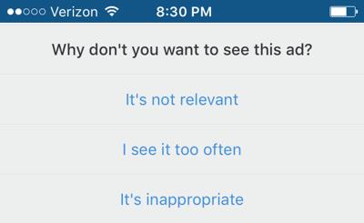 Tela perguntando por que você não quer mais ver o anúncio no Instagram