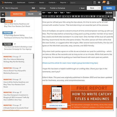 Software HubSpot Blogging - adicione CTAs com facilidade