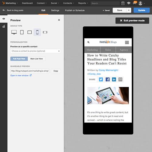Software HubSpot Blogging - automaticamente pronto para dispositivos móveis
