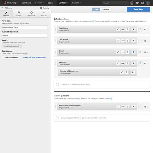 Formulários e informações sobre leads - HubSpot Lead Management