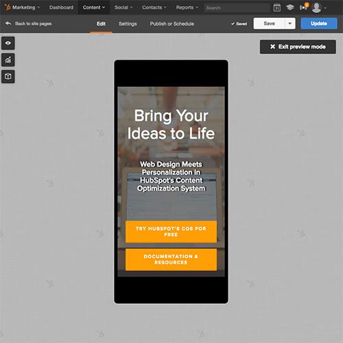 HubSpot Website Platform - Otimize automaticamente seu site para conteúdo móvel
