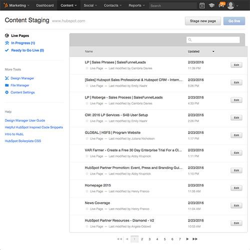 HubSpot Website Platform - Inclui ambiente para preparação de conteúdo