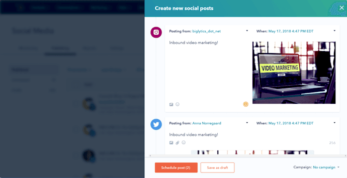 A ferramenta de publicação em mídias sociais da HubSpot