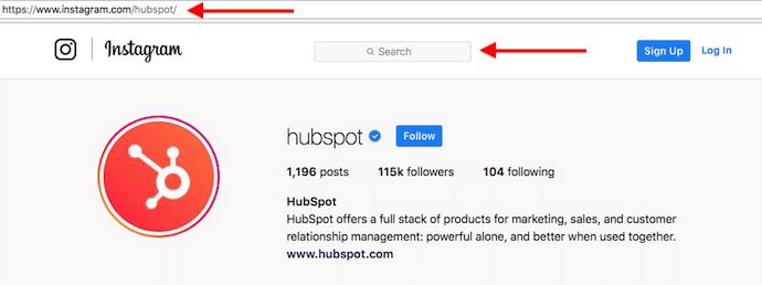 Perfil da HubSpot no Instagram com setas vermelhas apontando para a barra de pesquisa para encontrar usuários sem ter uma conta